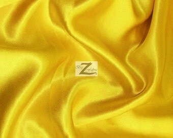 Solid Shiny Bridal Satin Fabric - YELLOW - By The Yard Bridesmaid Dresses Table Runners Wedding Gowns Party Decorations