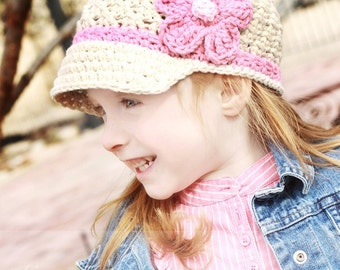 Crochet Hat Pattern Girl Crochet Hat Daisy Visor Beanie PDF 150 Newborn to Adult  Photo Prop Instant Download