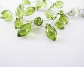 Peridot Chandelier Briolettes, Micro Faceted, AAA, 8-9mm, aaagems, Full Strand, 20 Briolettes