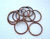Hammered Copper Rings 25mm Round Antique Metal Focal Circles Textured Plated Links Findings Wholesale Jewelry Supplies Supply CrazyCoolStuff