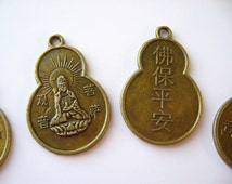 Buddhist Blessing Coin (10) Pendant Charm Quan Yin Buddha Antique Brass Chinese Currency Supplies Wholesale Jewelry Supply CrazyCoolStuff