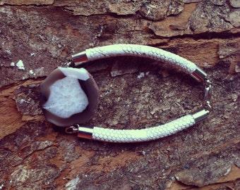 Grey Gemstone Bracelet- Birthstone Bracelet Cord Bracelet Statement Bracelet Cuff Bracelet White Cord Bracelet Boho Bracelet FREE SHIPPING