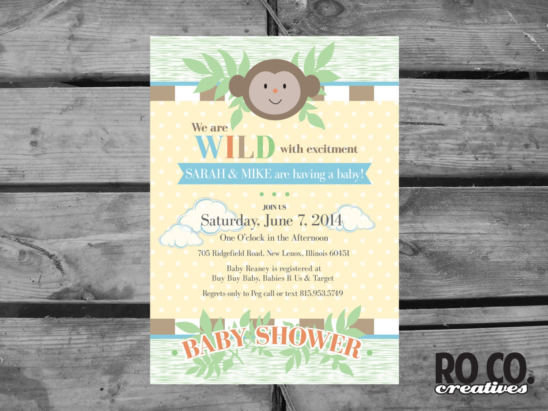 zoo jungle theme printable baby shower invitation