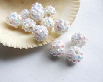 10 White Disco Ball Beads With AB Rhinestones - 25-1