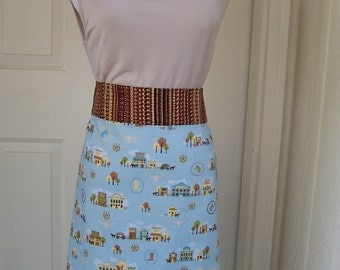 Old West Scenes with Blue Background Women's Half Apron
