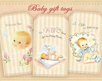 Baby shower gift tags printable tags digital gift tags on Digital collage sheet Printable sheet Paper goods Paper craft Vintage images