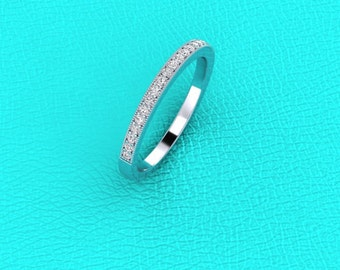 14K white gold pave' set diamond band