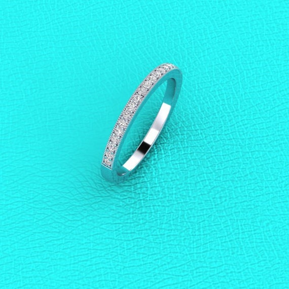 14K white gold pave' set diamond band