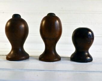 Three Vintage Decorative Wood Finials