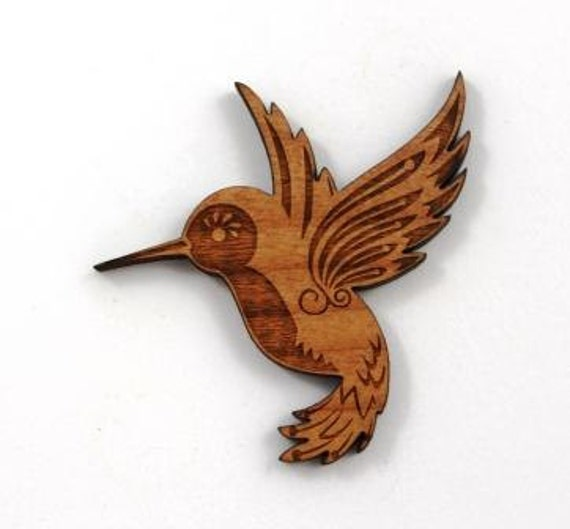 Laser Cut Supplies- 1 Piece.Humming Bird Charms - Cherry Wood Laser Cut Bird -Brooch Supplies- Little Laser Lab Sustainable Wood Products