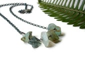 Peruvian Opal Silver Necklace, Oxidized Silver, Raw Blue Green Nuggets, Handcrafted Artisan Jewelry - PepaMoyano