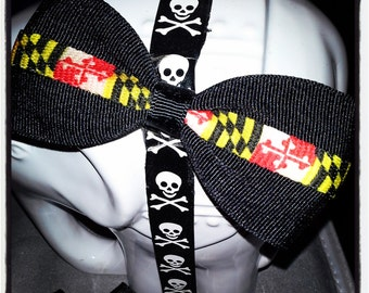 Maryland: Red Yellow Black White Flag Center Stripe on Black Base Hair Bow