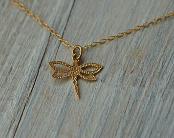 Gold dragonfly necklace, bridesmaid gift, long necklace, dragonfly jewelry necklace, antique silver necklace, bug insect animal jewelry