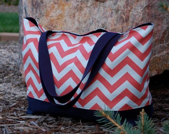 Coral Chevron Tote Bag with Navy