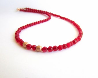 Burgundy Jade Necklace, Wine Red Jewelry, Rose Gold Beaded Necklace, Tiny Oxblood Bead Necklace, Jade Bead Necklace,Short Minimal Necklace