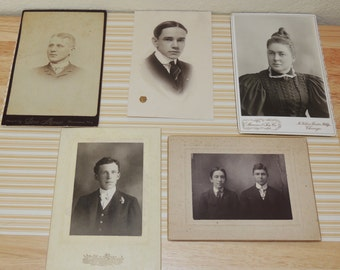5 Old Photos and Cabinet Cards to include JK Stevens McVickers Theatre Building, Chicago