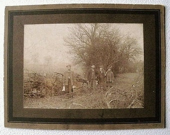 Occupational Costume photograph, antique,, woodsmen ready for work, sepia, 19th. century.