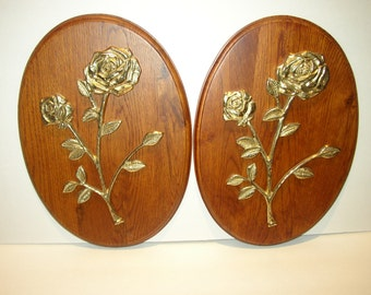 Vintage Wood Plaques with Brass Flowers/Roses/Bouquet of Flowers/Set of 2/Retro Home Decor