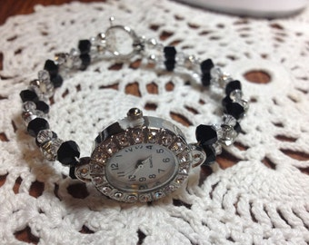 Black and Crystal Swarovski Watch