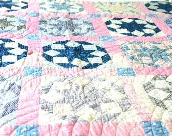 Pretty in Pink Vintage Six Point Star Pattern - Hand Quilted