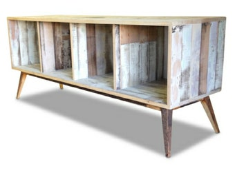 Recycled Repurposed Open Sideboard / Entertainment Unit Made From Recycled Houses