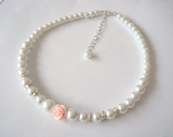 Flower Girl Pearl Necklace, Toddler Girls Jewelry, Wedding White Pearls and Pink Rose