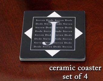 Personalized Ceramic  Coaster- initial & first names - The Cambridge (set of 4)
