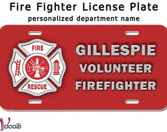 Volunteer Firefighter Personalized License Plate Aluminum Sign