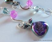 Silver Chandelier Earrings with Titanium Druzy, Quartz Amethyst Purple Green Gemstone Dangle Earrings, Fun Earrings, Druzy Doozies