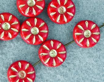 12mm Czech Glass Daisy Bead - 10 beads - 700 - red