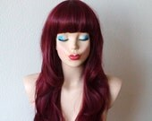 Wine red Ombre wig. Long wavy hairstyle with straight cross bangs Durable Heat resistant Synthetic wig for daily use or Cosplay.