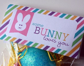 Easter treat bag toppers printable personalized easter goodie easter treat bag toppers goody bags easter favors easter printables some bunny loves you instant download negle Image collections