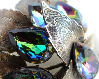 Stunning Peacock Style Leaf and Faceted Rhinestone Brooch - Classic and Elegant