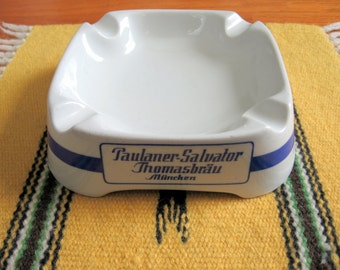 Vintage 1960s-70s German Paulaner-Salvator Thomasbrau Munich Brewery Porcelain Advertising Ashtray