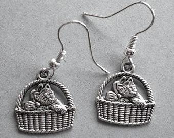 Kitten in a Basket Silvertone Earrings