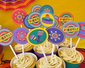 Mexican Fiesta 5 de mayo party pdf printable cupcake toppers and wrappers INSTANT DOWNLOAD