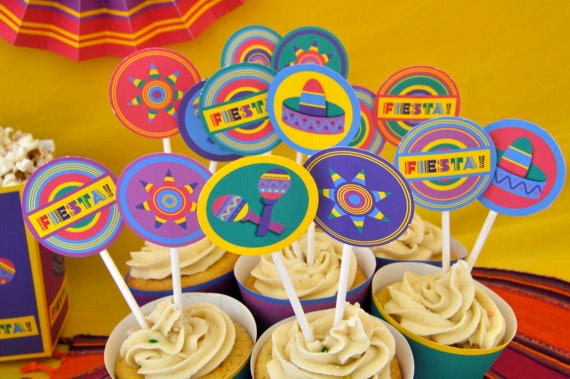 Mexican Fiesta 5 de mayo party pdf printable cupcake toppers