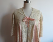1930's Light Peach Pink Satin and off-White Lace flared Bed Jacket  FOR- Kim O'Grady