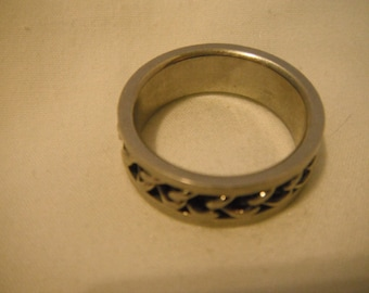 Metal chain link ring, mens, vintage