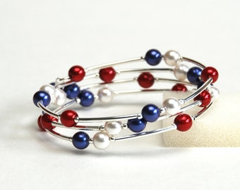 Red White and Blue Bracelet - Crystal and Glass Pearl Memory Wire Bracelet - Handmade Red White and Blue Jewelry