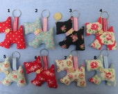 Cath Kidston/Tilda Fabric Scottie Dog Key Rings/Bag Charms, Tilda Fabric Bag Charms