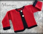Crochet Pattern for Toddler Cardigan Sweater, Cherise Cardigan PDF14-128B INSTANT DOWNLOAD
