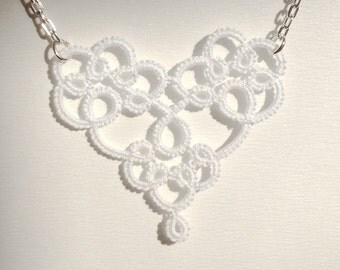 "White heart tatted lace pendant necklace with chain - ""Sweetheart"" collection"