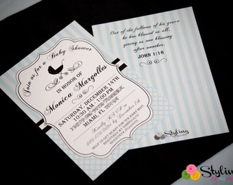 Blue Chic Baby Shower Invitation