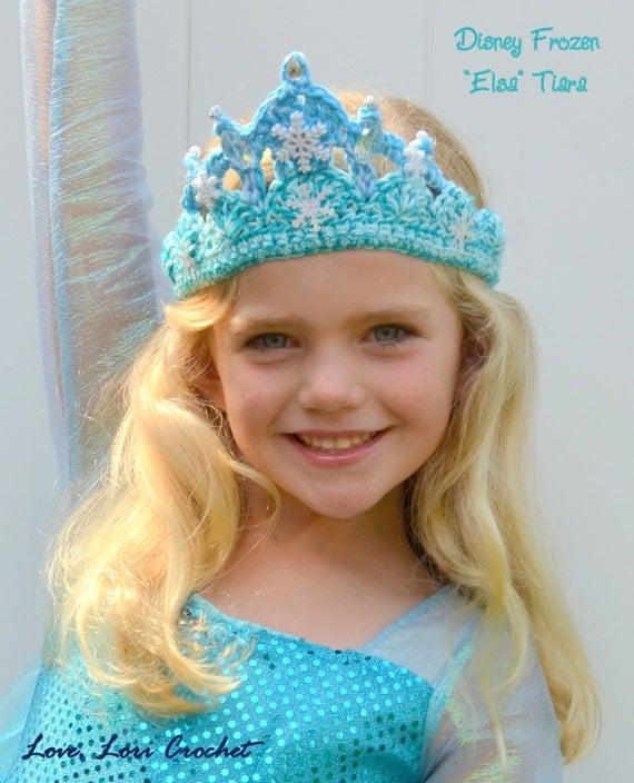 Free Crochet Pattern For Elsa Crown : Items similar to Disney Frozen Sparkly Crochet Elsa Tiara ...
