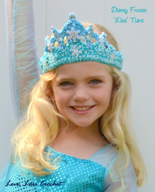 Crochet Elsa Tiara Pattern Free : Items similar to Disney Frozen Sparkly Crochet Elsa Tiara ...