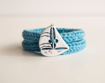 Knitted Blue Bracelet nautical sailor style