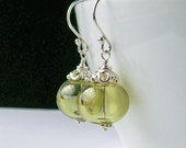 Mojito Green Hollow Glass Sterling Silver Dangle Earrings, Artisan Lampwork and 925 Silver Earrings, Spring Green Jewelry