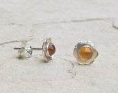 Sterling Silver Flower Earrings, Small Post Earrings, Citrine Semi-Precious Gemstones, November Birthstone, Yellow Stones, Handmade Jewelry