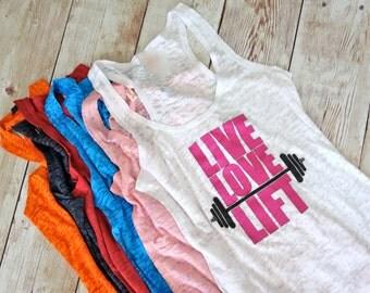 Live Love Lift Workout Tank Top. Fitness Tank Top. Gym Tank Top. Active Wear. Burnout Tank Top. Racerback Tank Top. Gym Shirt. Workout Shirt